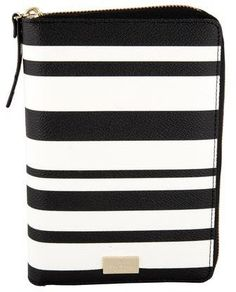 d6a3507c9d41 Kate Spade New York Striped Agenda Cover. Black and white pebbled leather  Kate Spade New