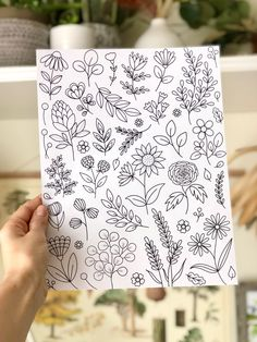Floral coloring page, botanical design coloring page