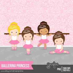 BALLERINA PRINCESS Digital Clipart , Clipart Ballerina /  Personal and Commercial Use / Instant Download