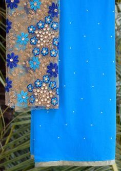Blue moti saree with embroidered blouse piece