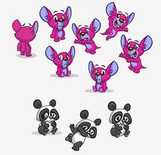 Cartoon animals poses , gestures and expressions. Turnarounds
