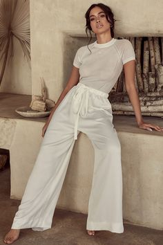 'Tiana' is cut from a semi sheer fine knit rib. It has short sleeves, round neck and sits at the mid waist. Mode Outfits, Chic Outfits, Fashion Outfits, Lounge Outfit, Lounge Wear, Ashley Clothes, Looks Country, White Sheer Top, Sheer Tops