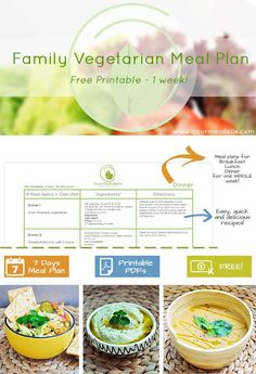 This is a free vegetarian family meal plan with recipes for one whole week! This vegetarian family meal plan is ideal to feed a whole family of 3-4 people. | http://gourmandelle.com/vegetarian-family-meal-plan-free-printable/
