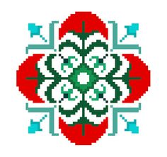 Red flower cross stitch tile. Contemporary cross stitch pattern by crossstitchtheline Modern approach to traditional cross stitch design.