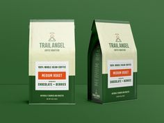 Trail Angel - Packaging designed by Connor Beebe. Coffee Beans, Packaging Design, Trail, Berries, Packing, Angel, Drinks, Bag Packaging, Design Packaging