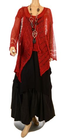 Sarah Santos New Season Intricate Red Fluid Knit-Sarah Santos, lagenlook,
