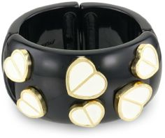 "Betsey Johnson Pretty Polka Dots"" Multi-Heart Stretch Bangle Bracelet on shopstyle.com"