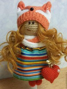 Купить Вязаная кукла - Лисичка с сердечком - крючком, вязаная игрушка, подарок, подарок на любой случай