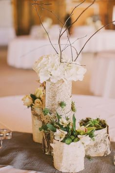 bark-wrapped centerpieces // photo by Julia of Our Labor of Love