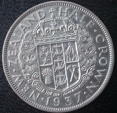 Silver New Zealand 1937 Half Crown King George VI 1st Year Magnificent Argent