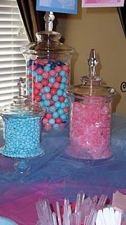 Gender Reveal candy buffet with pink and blue candies. Baby Gender Reveal Party, Gender Party, Baby Party, Baby Shower Parties, Shower Party, Shower Gifts, Candy Buffet, Candy Jars, Baby On The Way
