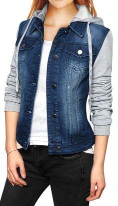 1d5fe75aa6 Allegra K Women Layered Drawstring Hood Denim Jacket w  Pockets. Click  Visit for more