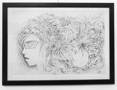 """Meditation""  Original Pencil drawing on paper  70x50cm $600 // #meditation // #drawing // #pencil // #sunnies // #girl // #abstract // #intricate // #detailed // #spiritual // #mindfulness // #buddha // #calm m/"