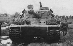 Tiger '114' commanded by Alfred Rubbel of schwere Panzer-Abteilung 503, during manoeuvres in May 1943 near the city of Kharkov, in preparation for Operation Zitadelle. Note the additional track links have been fixed to the front of the tank. Smaller improvements were continuously incorporated and included a rain guard over the binocular telescope in the gun mantlet, fitted by the crews in the field.