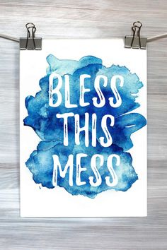 Bless This Mess Print Quote Funny Typography by HyperSplashPrints