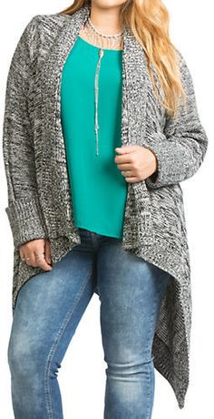 Plus Size Marleld Open Front Cardigan