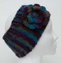 Wool Knitting Headband  Wool Hand Knitting Hat  by JuliaHats