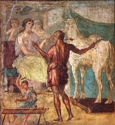 Daedalus, Pasiphae and wooden cow. Roman fresco from Casa dei Vettii in Pompeii.