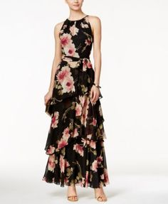 Tahari ASL Tiered Floral-Print Halter Dress $169.00 Steal the night in this gorgeous floral-inspired gown from Tahari ASL.