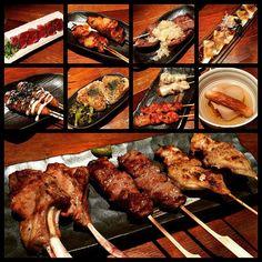 Buwahahahahah HUNGRYYYYY #hungry#zakkushi#skewers#japanese#sashimi#beeftataki#tataki#beeftongue#chickentsukune#lamb#lamchop#aaabeef#beef#chickenwing#oden#vancouver#vancity#vancityeats#vancityfood#vancouvereats#vancouverfood#yakitori#izakaya by sorchin