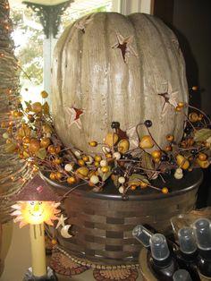 Looks like a Longaberger basket the pumpkin is on.