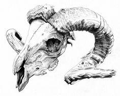 rams skull Art Print by tonymark Animal Skull Drawing, Animal Skulls, Animal Drawings, Art Drawings, Drawing Art, Ram Skull, Skull Art, Widder Tattoos, Sheep Skull