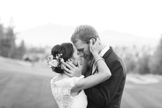 bride and groom, madly in love on their wedding day, gorgeous BHLDN dress