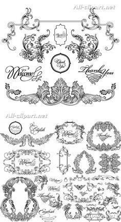 Винтажный декор в стиле рококо - вектор   Decorative Ornaments
