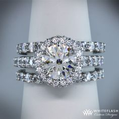 Engagement ring with two wedding bands. Yes!