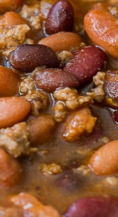 These savory and hearty Slow Cooker Steakhouse Cowboy Baked Beans are a simple side dish or main dish that's filled with beef, bacon and. Crock Pot Food, Crockpot Dishes, Crock Pot Slow Cooker, Slow Cooker Recipes, Crockpot Recipes, Cooking Recipes, Slow Cooker Baked Beans, Baked Beans Crock Pot, Crock Pots