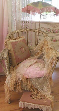 lace covered vintage wicker chair