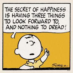 The secret to happiness - Charlie Brown Peanuts Comics, Snoopy Comics, Peanuts Cartoon, Peanuts Snoopy, Snoopy Cartoon, Fun Comics, Sally Brown, Snoopy Love, Snoopy And Woodstock