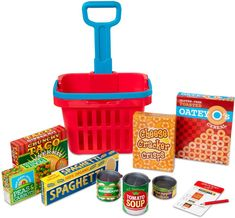 Kids can check off everything on their shopping list with this rolling grocery basket filled with play food boxes and cans. From Melissa & Doug. Wooden Play Kitchen, Kids Play Kitchen, Play Food Set, Pretend Food, Uptown Kitchen, Arty Toys, Grocery Basket, Office Images, Plastic Items