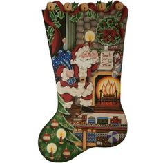 click here to view larger image of Thank You Santa Boy Stocking - 13ct (hand painted canvases)