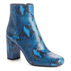 Women's Saint Laurent 'Babies' Faux Python Bootie ($845) ❤ liked on Polyvore featuring shoes, boots, ankle booties, blue python, blue bootie, fake boots, blue ankle boots, chunky ankle booties and chunky-heel ankle boots