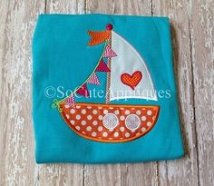 Sailboat with Heart and Pennants Applique - 4 Sizes!   What's New   Machine Embroidery Designs   SWAKembroidery.com So Cute Appliques