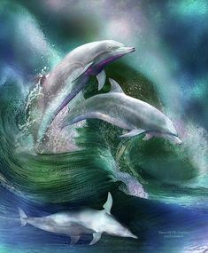 Dolphins, sweet dolphins, spirits so free as you dance upon with waves with such beauty and grace, bringing smiles and joy wherever you go, touching so many so deeply with your boundless heart and your eternal soul. This painting of three dolphins dancing in the blue and green waves is from the 'Beauty In Nature' collection of art by Carol Cavalaris.