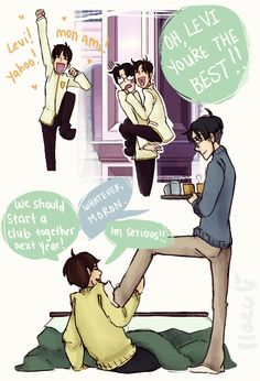 Eren as Tamaki and Levi as Kyoya from Ouran High School Host Club :3