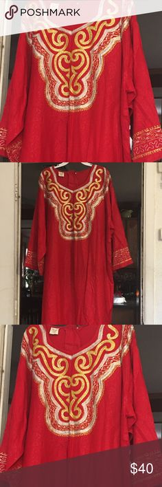 Embroidered Red Dress Purchased from Ebay and never wore because it was too long for me.  Measurements:  From shoulder to shoulder:  23 inches; From neck to hem:  50 inches; Sleeve:  From arm seam to edge:  19 inches.  Material:   100% Rayon.  Designer:  African Star; Made in Pakistan . Dresses Maxi