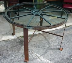 Glass Topped Wagon Wheel Table, Metal Legs