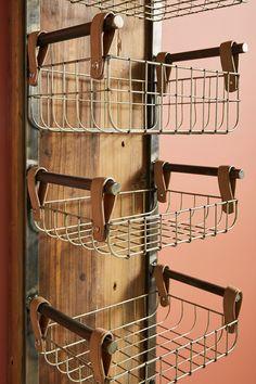 Wall Basket Storage, Baskets On Wall, Baskets For Storage, Wire Baskets, Diy Storage Rack, Hanging Storage, Diy Storage Wall Shelves, Cool Storage Ideas, Diy Clothes Hanger Storage