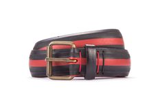 #2984 - Black and red belt from a spare race bicycle tyre, entirely handcrafted, iron branded and numbered. Strap folded up and stitched up with cotton colored strings.