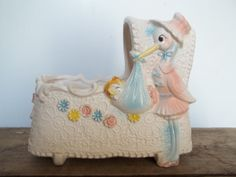 Vintage Baby Planter Shabby Nursery Pink and Blue by JunkyardElves, $14.00