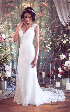 V Neck Lace Wedding Dress at $128.45 at June Bridals! We offer off the shoulder wedding dresses, long sleeve wedding dresses, lace wedding dresses and many other affordable wedding dresses, shop before the sale ends! #junebridals