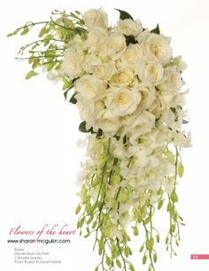 Traditional cascade of white Roses and Dendrobium Orchids Cascading Bridal Bouquets, Wedding Bouquets, Dendrobium Orchids, White Home Decor, Beautiful Roses, Corsage, White Roses, Bride, Design