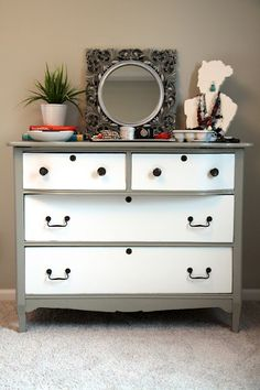 vintage dresser refurbished with gray and white paint