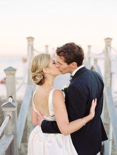 Love her chignon: http://www.stylemepretty.com/2015/03/26/romantic-nautical-cape-cod-wedding/ | Photography: Trent Bailey - http://www.trentbailey.com/
