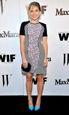 Sophia Bush in a Sportmax dress and Casadei shoes at the Max Mara and W magazine Women in Film party.