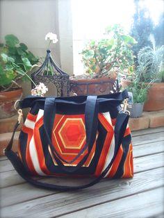 Kimono, Obi, Purse / BK730 Orange Kikko Pattern Pleated Tote Bag With Adjustable Strap by RummyHandmade on Etsy