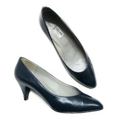CELINE vintage shoes pumps 80s deep blue di vintageinfashion